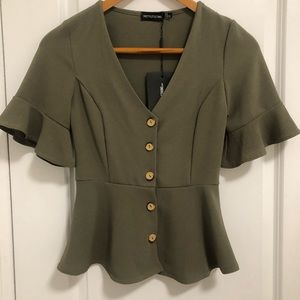 Pretty Little Thing button-up olive blouse